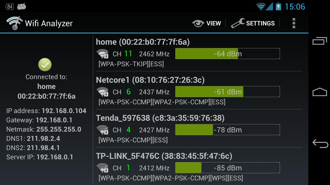 Interface for Android Wifi