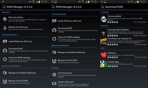 Stunning Rom Manager Android